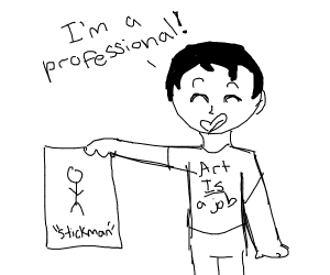 professional artist draws a stickman