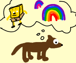 Dog thinking about spongebob and rainbows