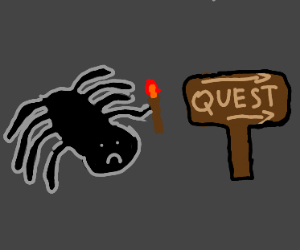 Sad spider goes on a quest with torch