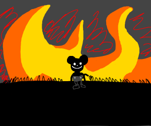 Arsonist Mickey Mouse