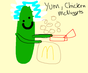 A Pickle Eating A Chicken Nugget