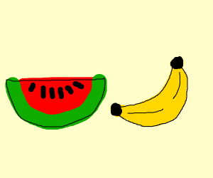 a watermelone next to a bananana
