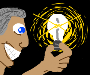 Man grinning while holding a lightbulb