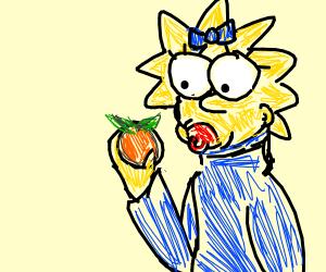 maggie simpson eating an orange