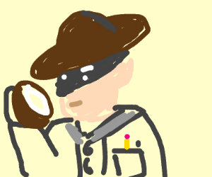 Inspector eating a Coconut