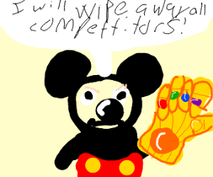 Mickey Mouse uses Gauntlet to wipe comptetors