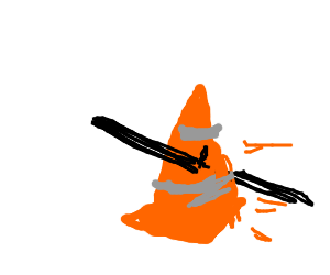 Impaled traffic cone