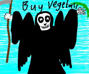 Death sells veggies in sky