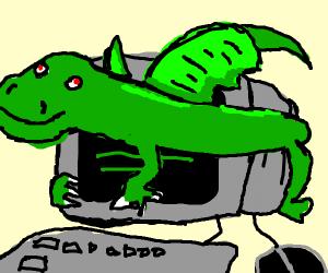 Dragon wrapped around a computer monitor w/ba