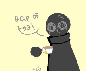 A grey creature enjoying a cup of tea