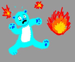 Blue bear in a commotion