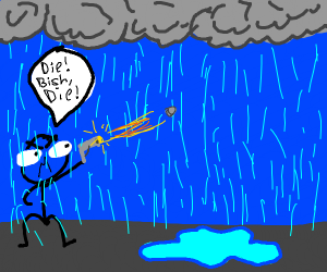 man tries to shoot the rain but it dosnt work
