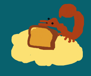 A scorpion sitting on a cloud that has bread