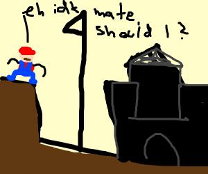 mario deciding whether he should finish level