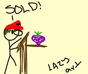 Mario auctioning a Turnip