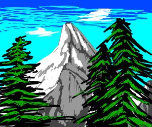 pretty mountain and tree landscape