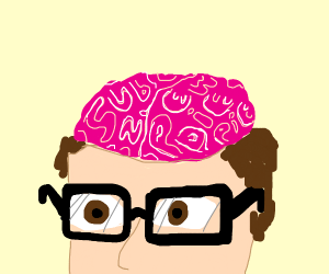 geek with glasses and a brain for a head