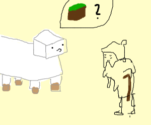 Sheep asks melting old woman about minecraft