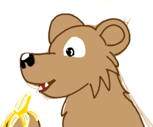 Bear eating Banana