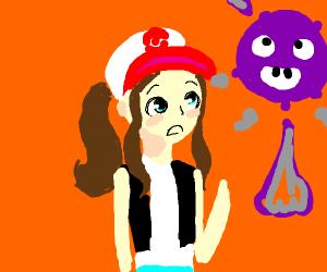 Hilda (Pokemon) using a poison type move