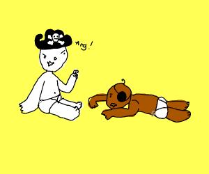 2 babies playing Pirates