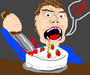 guy killing cake dramaticly