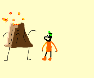 GOOFY BEING ATTACKED BY A VOLCANO