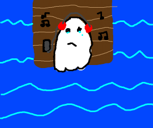 ghost lies on dock listen to music. he cries.