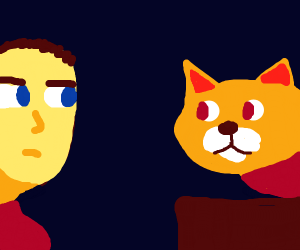 Man and cat have staring contest