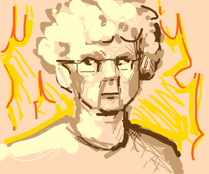 Old woman burning