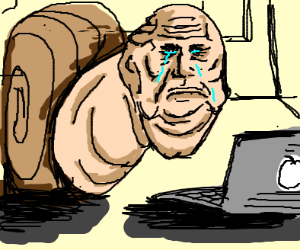 Mr. Snail got fired, cries while on macbook