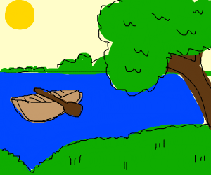 Empty boat floating on a river