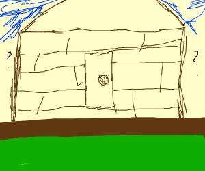 Cool wooden house w/ door that's not on floor