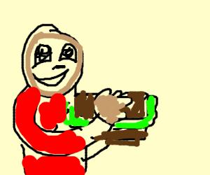 guy with sandwich