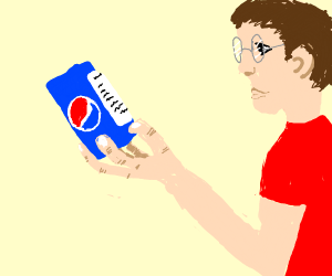 Guy reads pepsi ingredients