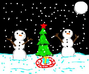 Snowmen cult sacrificing gift under a tree