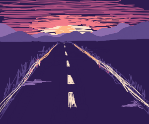 sunset over long road
