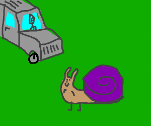 Snail about to be hit by a Cadillac