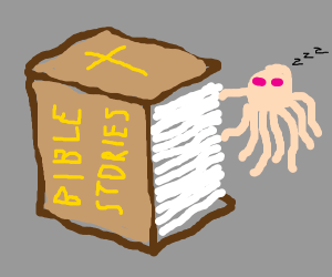 Pink squid reads looooong bible story.