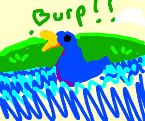 Blue duck does a HUGE burp