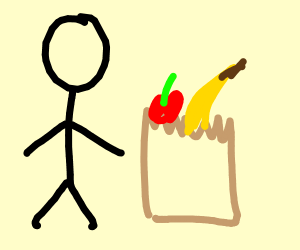 A stickman with a grocery bag