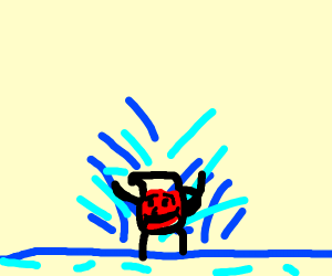 Kool-Aid Man playing in the Water