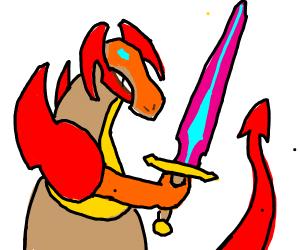 dragon with a sword much badass!