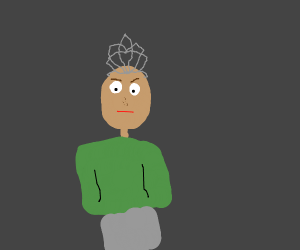Bald man wearing a tiara
