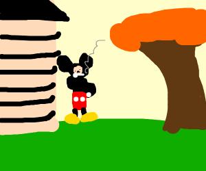 Mickey Mouse smoking