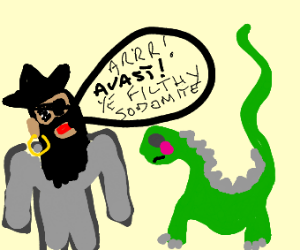 dinosaur verbally abused by pirate