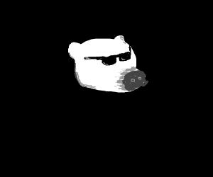 Bored polar bear dressed fancy, but pantsless