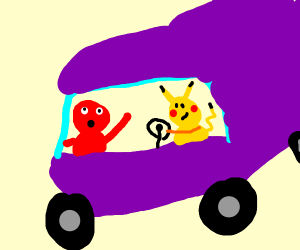 Elmo getting a ride from pikachu