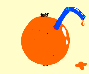 A orange with a blue straw in it