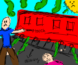 Touching smelly train